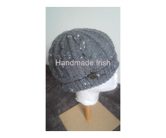 Hand knit Aran tweed hat & scarf Set