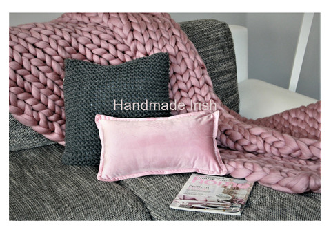 Genuine 100% Pure Merino Chunky Sofa Bed Cover Wool Blanket Hand Made Knitted Luxury Natural Gift