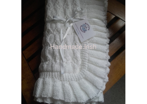 Hand knit Christening Shawl