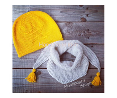 Yellow Hat & Triangle Scarf, Slouchy Beanie, Triangle Shawl