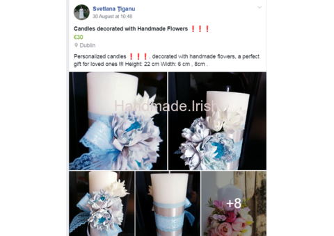 Candles decorated with Handmade Flowers