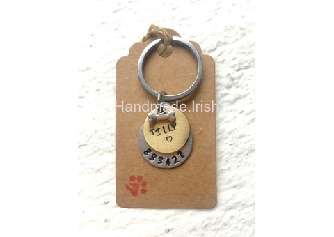 Hand stamped personalised dog tag, Pet ID tag